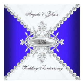25to aniversario de boda del blanco elegante del invitación 13,3 cm x 13,3cm