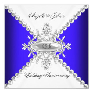 """25to aniversario de boda del blanco elegante del invitación 5.25"""" x 5.25"""""""