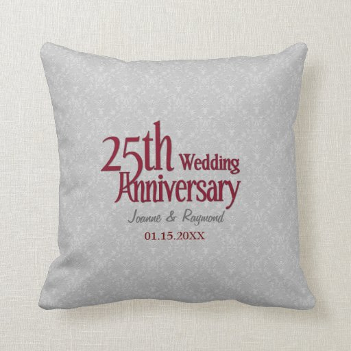 25to aniversario de boda del damasco de plata cojín decorativo