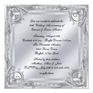 """25to aniversario de boda del remolino de plata invitación 5.25"""" x 5.25"""""""