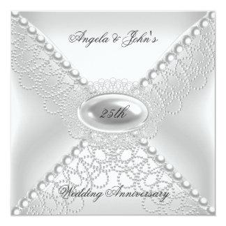 "25to Aniversario de boda Pearl White elegante Invitación 5.25"" X 5.25"""