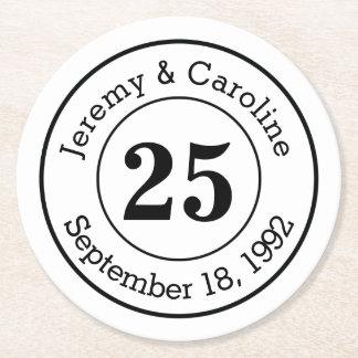 25to Aniversario de boda personalizado Posavasos Personalizable Redondo