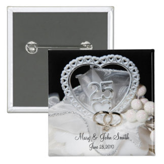 25to Aniversario de boda Pin Cuadrado