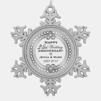 25to Aniversario de bodas de plata 4 Adorno De Peltre En Forma De Copo De Nieve