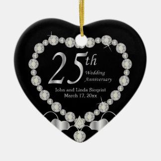25to Aniversario de bodas de plata Adorno Navideño De Cerámica En Forma De Corazón