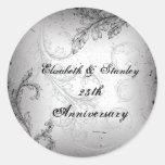 25to aniversario de bodas de plata de la voluta gr etiquetas redondas