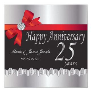 """25to aniversario de bodas de plata feliz invitación 5.25"""" x 5.25"""""""