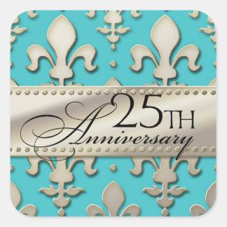 25to, aniversario de bodas de plata, flor de lis pegatina cuadrada