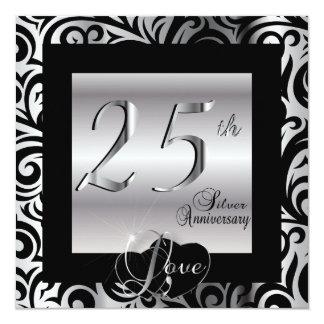 """25to Aniversario de bodas de plata Invitación 5.25"""" X 5.25"""""""