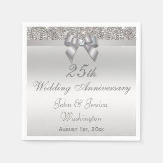 25to aniversario de bodas de plata personalizado servilleta desechable