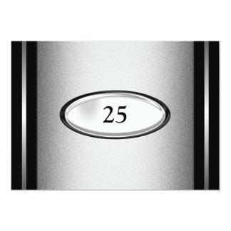 25to aniversario de la raya de plata negra invitación 12,7 x 17,8 cm