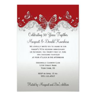 25to aniversario de las mariposas de plata rojas comunicado personalizado