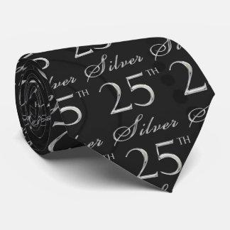 25to Aniversario de plata en damasco negro con Corbata
