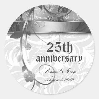 25to Aniversario de plata floral Pegatina Redonda