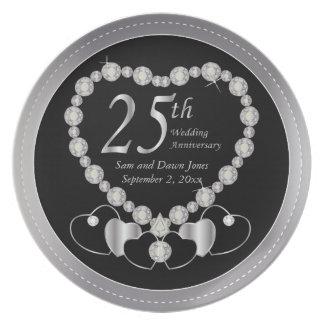 25to aniversario de plata negro y de plata plato