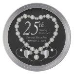 25to aniversario de plata negro y de plata platos