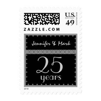 25to Aniversario del año - negro y sello de la pla