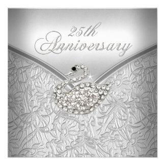 25to aniversario del cisne blanco de plata elegant invitacion personalizada