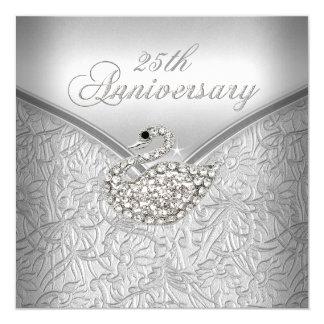 """25to aniversario del cisne blanco de plata invitación 5.25"""" x 5.25"""""""