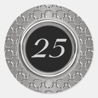 25to aniversario elegante de la plata y de boda pegatina redonda