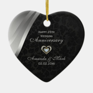 25to aniversario elegante del negro y de los gris adorno navideño de cerámica en forma de corazón