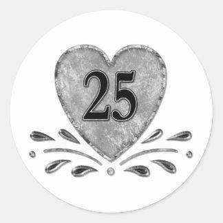 25to aniversario - plata pegatina redonda