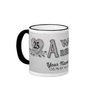 25to aniversario - plata - personalizar taza de dos colores