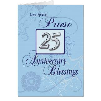 25to azul del aniversario de la ordenación del tarjeta de felicitación