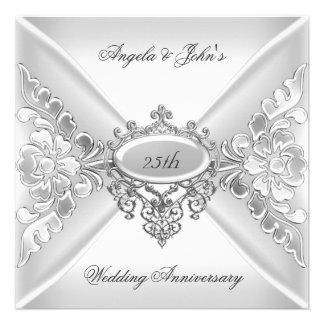25to Blanco de plata elegante del aniversario de b Comunicado
