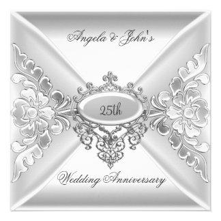 25to Blanco de plata elegante del aniversario de b Invitación
