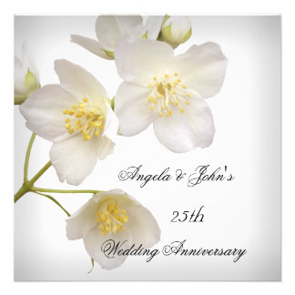 25to Blanco floral elegante del aniversario de bod Comunicado