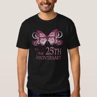 25to Boda Aniversary (mariposa) Playeras