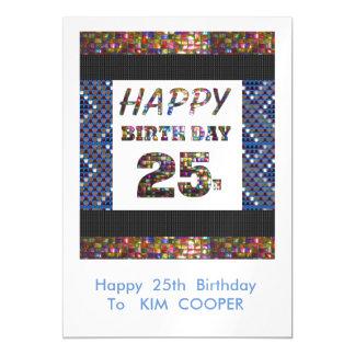 25to cambio del cumpleaños o msg felices 25 del invitaciones magnéticas