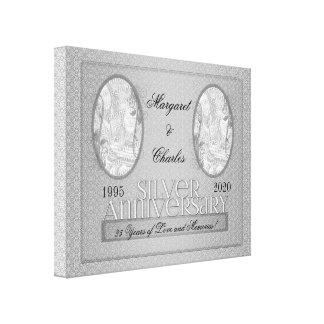 25to Collage de plata de la foto de Annivsersary Impresión En Lienzo