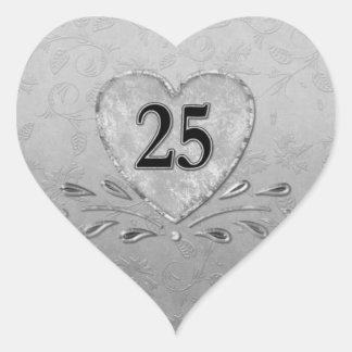 25to Corazón de plata del aniversario Pegatina En Forma De Corazón