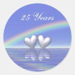 25to Corazones de plata del aniversario Pegatinas