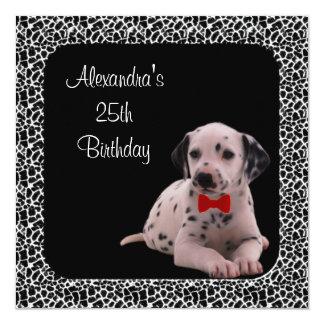 """25to Cumpleaños Dalmation y marco del estampado de Invitación 5.25"""" X 5.25"""""""