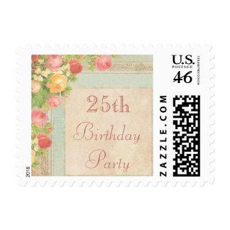 25to cumpleaños de los rosas elegantes del vintage franqueo