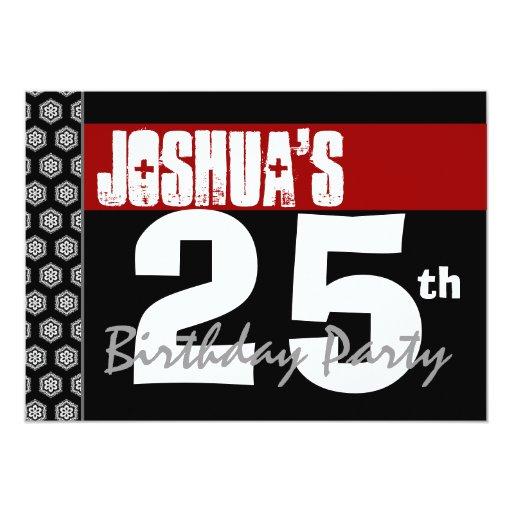 25to Cumpleaños moderno para él negro blanco rojo Invitación 12,7 X 17,8 Cm