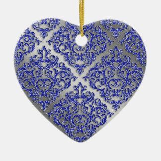 25to Damasco azul de la plata de la chispa de Adornos