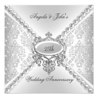 25to damasco del aniversario de boda de la plata e comunicados personalizados