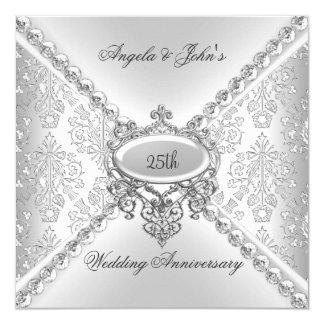 """25to damasco del aniversario de boda de la plata invitación 5.25"""" x 5.25"""""""