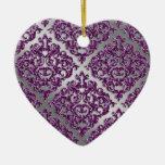 25to Damasco púrpura de la plata de la chispa del Adorno Navideño De Cerámica En Forma De Corazón