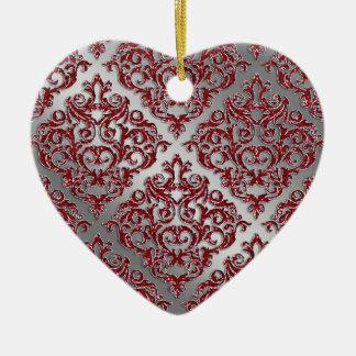25to Damasco rojo de la plata de la chispa de Ornamentos De Reyes Magos