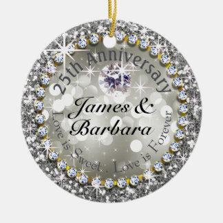 25to Diamante glamoroso Bling del aniversario Adorno Redondo De Cerámica