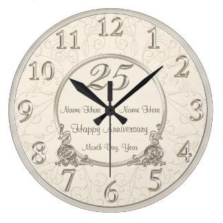 25to El aniversario de boda registra la FECHA de Reloj Redondo Grande