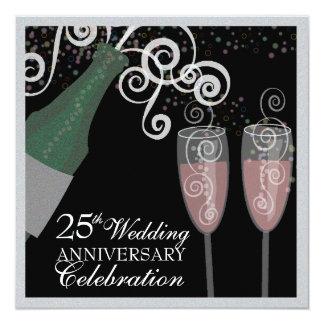 25to Fiesta burbujeante de Champán del aniversario Invitación 13,3 Cm X 13,3cm