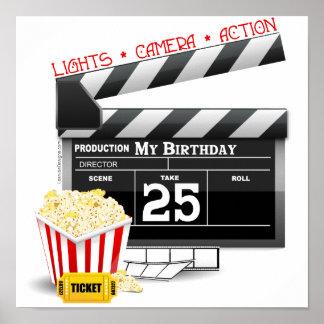 25to Fiesta de la película de Hollywood del cumple Póster