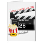 25to Fiesta de la película de Hollywood del cumple Tarjeton