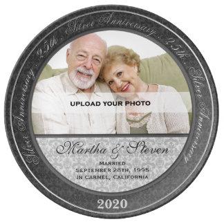 25to Foto del aniversario de bodas de plata Platos De Cerámica